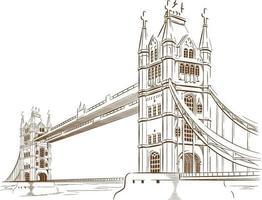 schizzo doodle london bridge landmark viaggio destinazione contorno vettore
