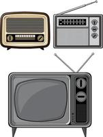 retro televisione antica radio d'epoca fumetto vettore isolato