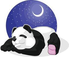 Panda gigante dormire notte di riposo fumetto illustrazione disegno vettore