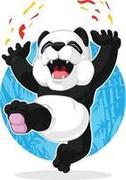 Panda gigante felice che celebra l'illustrazione emozionante del fumetto di salto vettore