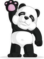 ciao panda gigante agitando la mano saluto fumetto illustrazione disegno vettore
