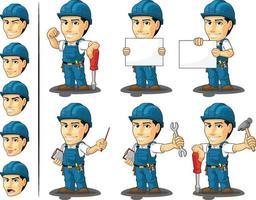 tecnico riparatore elettricista mascotte dei cartoni animati illustrazione disegno vettore