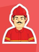 mascotte vigile del fuoco vigile del fuoco mangiatore di fumo profilo avatar fumetto vettoriale