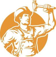 silhouette operaio edile azienda logo martello illustrazione vettore