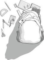 forniture di cancelleria borsa zaino illustrazione del fumetto della scuola vettore