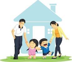 bambini che giocano con l'illustrazione di vettore del fumetto della famiglia della madre del padre