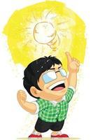illustrazione del fumetto di idea dell'innovazione della lampadina di momento di eureka aha vettore