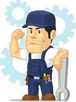 illustrazione del fumetto della mascotte del negozio di riparazione del garage automobilistico del meccanico di automobile vettore