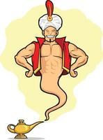desiderio di concessione della lampada magica genie fumetto illustrazione disegno vettoriale