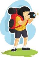 ragazza con zaino e sacco a pelo che cattura la foto della macchina fotografica disegno di vettore del fumetto di vacanza