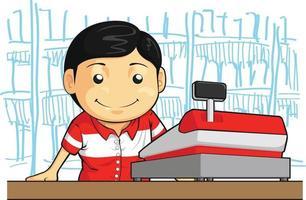 cassiere impiegato negozio operaio impiegato fumetto illustrazione disegno vettore
