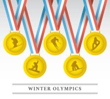 Vettore delle medaglie dei giochi olimpici invernali