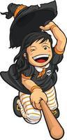 disegno dell'illustrazione del fumetto del costume della ragazza di volo della scopa della strega di halloween vettore