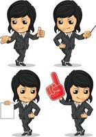 disegno di vettore del fumetto della mascotte della donna di affari esecutiva della società femminile