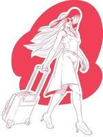 schizzo donna turista vacanza viaggio fumetto illustrazione disegno vettore