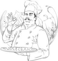 schizzo pizzeria ristorante chef pizza cuoco salotto disegno animato vettore