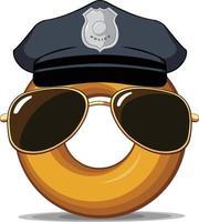 ciambella ufficiale di polizia occhiali da sole ciambella disegno vettoriale di cartone animato