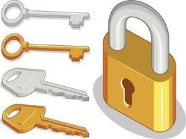 lucchetto in metallo chiavi protezione sicura disegno illustrazione del fumetto vettore
