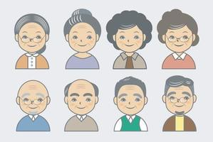 set di icone di profilo senior carino vettore