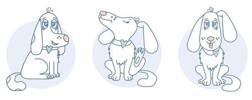 un simpatico, giocoso cane bianco con un cuore corre e si siede, si gratta un orecchio, tira fuori la lingua vettore