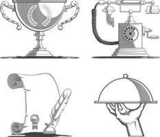 icone vintage trofeo retro telefono antico manoscritto silhouette vettore