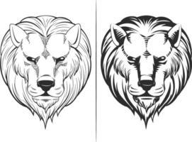 Schizzo testa leone vista frontale doodle profilo illustrazione vettoriale disegno