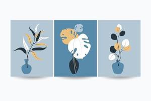 insieme di composizioni con foglie. collage alla moda per il design in uno stile ecologico. illustrazioni vettoriali per la progettazione di cartoline o brochure. piatto.