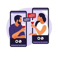 concetto di relazioni virtuali. donna e uomo in appuntamento virtuale, festa del vino sull'autoisolamento nella pandemia di coronavirus. vettore. vettore