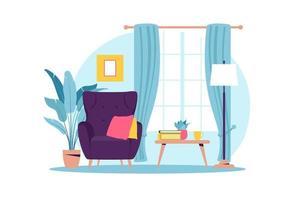 interno del soggiorno con mobili. poltrona moderna con tavolino. stile cartone animato piatto. illustrazione vettoriale. vettore