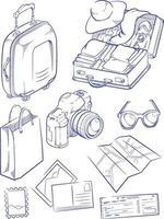 schizzo vacanza viaggio valigia vacanza doodle contorno disegno vettoriale