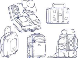 schizzo vacanza viaggio valigia borsa doodle contorno disegno vettoriale