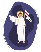 Domenica di Pasqua. icona di Cristo vittorioso. festa religiosa - la risurrezione di cristo. ha vinto la morte ed è risorto. Cristo sta con la bandiera della vittoria e un gesto di benedizione. vettore
