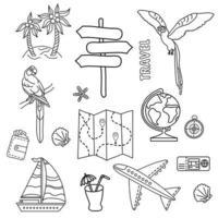 set di disegni al tratto di contorno turistico. aereo da trasporto e nave, isola tropicale e pappagalli, mappa e globo. vettore