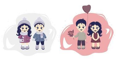 un paio di bambini - un ragazzo e una ragazza in abiti invernali ed estivi su uno sfondo decorativo. illustrazione vettoriale. bambini inverno e primavera - stagioni e persone. collezione bambino carino per il design vettore