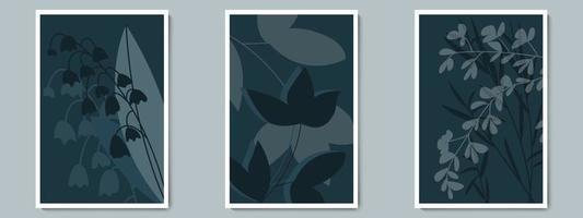 insieme del manifesto di vettore di arte della parete scura botanica. fogliame ombra minimalista con sfondo notturno.