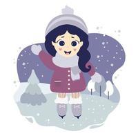 ragazza carina pattinaggio su ghiaccio su uno sfondo decorativo blu con un paesaggio invernale vettore