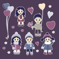 un set di adesivi. bambini adorabili - ragazzi e ragazze in abiti invernali ed estivi vettore