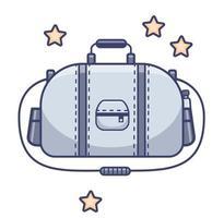 Bagaglio. grande borsa sportiva grigia, cintura per lo sport e il viaggio. vettore