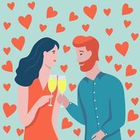 carta di San Valentino con coppia vettore