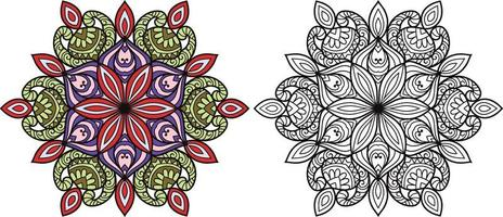 Doodle mandala pagina del libro da colorare per adulti e bambini. decorativo rotondo bianco e nero. modelli di terapia antistress orientale. groviglio zen astratto. illustrazione vettoriale di meditazione yoga.