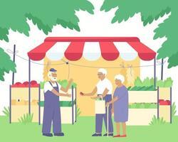 un contadino vende verdure fresche della sua fattoria a una coppia di anziani vettore