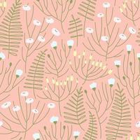Seamless pattern di prato in fiore di primavera su uno sfondo rosa vettore