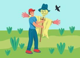 contadino che allestisce uno spaventapasseri vettore