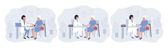 una serie di procedure mediche per una donna anziana vettore