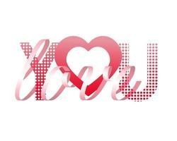 bella carta regalo con nastro rosa cuore amore su sfondo bianco vettore