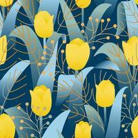 modello di progettazione con tulipani gialli senza cuciture su sfondo blu scuro vettore