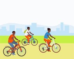 famiglia va in bicicletta in un parco fuori città vettore