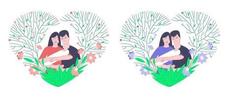 famiglie con un neonato in cornici con fiori blu e rosa vettore