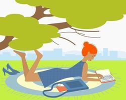 ragazza sdraiata e parco di lettura per il concept design vettore