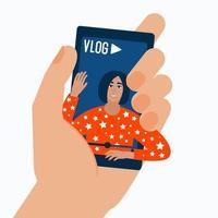 moderno ritratto di donna blogger vettore